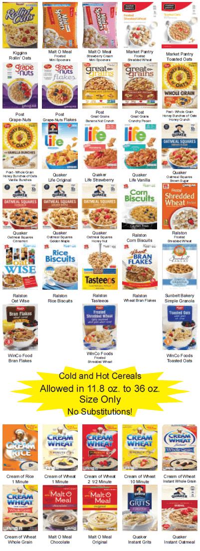 Food List Panel 2 Cereals