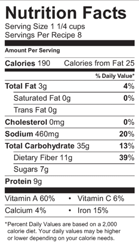 Bean and Veggie Soup Nutrition Label